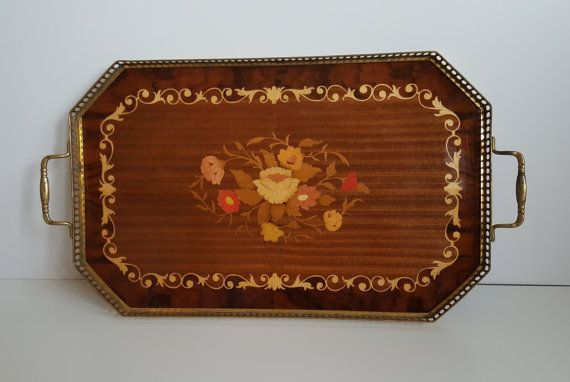 Vintage Sorrento Wood Marquetry Tray Inlaid Flowers by RetroEnvy21