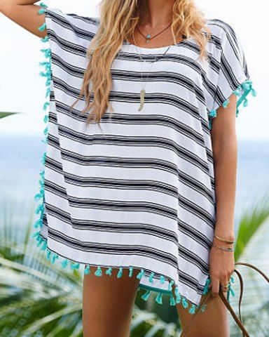 Stylish Scoop Neck Striped Tassel Spliced Short Sleeve Cover-Up For Women