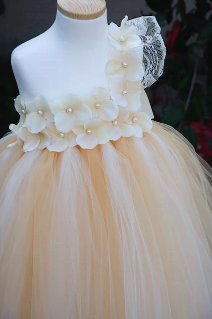 Ivory and Champagne Vintage Flower Girls Tutu Dress