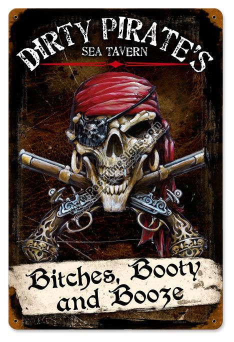 Pirate Signs and Decor | Dirty Pirates Tavern Vintage Metal Sign