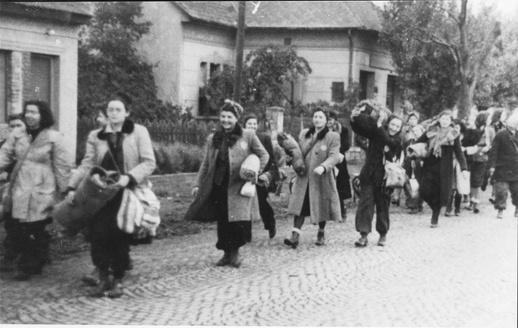 Budapest, Hungary, October 1944, Jewish women deported out of the city.