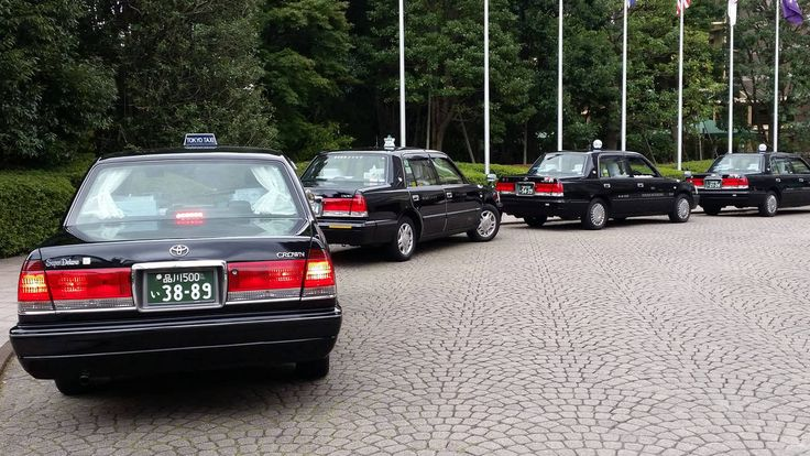 Line of Toyota Crown taxis in Tokyo