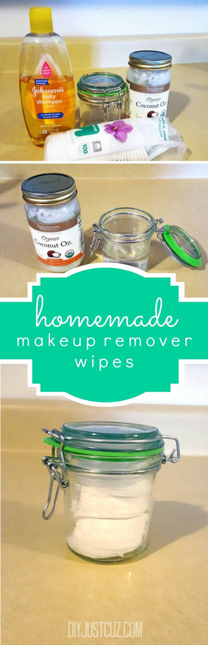 Stop spending money on expensive homemade makeup remover wipes full of chemicals. Learn how to make your own with a few things you already have in your house! @diyjustcuz