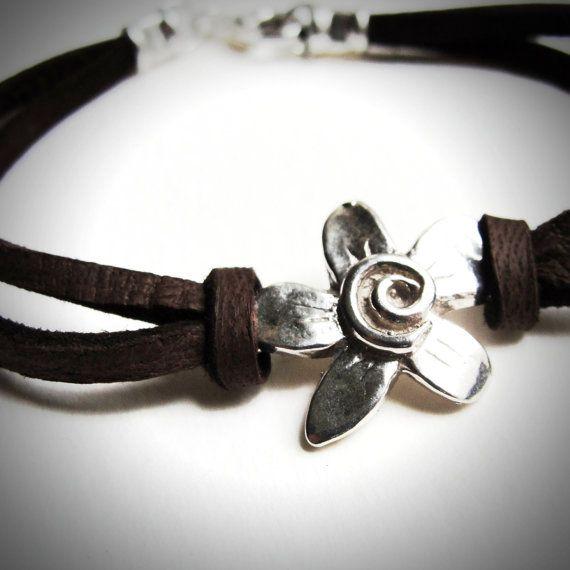 Sterling Spiral Fleur on Leather bracelet by JewelryByMaeBee, $28.00