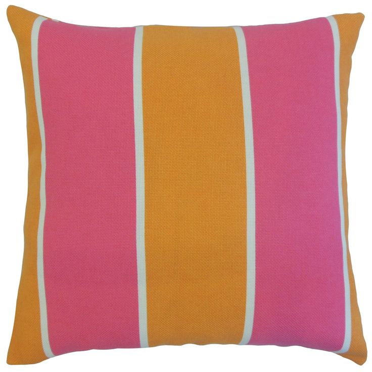 Take your outdoor style into the next level with this bright accent pillow. Printed with a vertical striped pattern in shades of orange, pink and white. Toss in one or two pieces of this square pillow to your patio, sofa and backyard for extra comfort and style. Made of 100% high-quality synthetic fabric. Crafted in the USA. $55.00 #pillows #homedecor #tosspillow #stripes #pink #orange #outdoorpillow