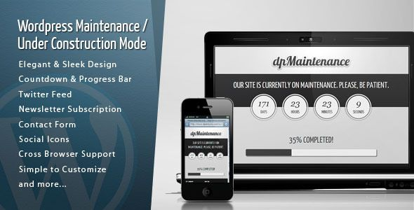 Wordpress Maintenance - Under Construction Mode   http://codecanyon.net/item/wordpress-maintenance-under-construction-mode/1551054?ref=damiamio      Item Description:  The DP Maintenance plugin includes the possibility to add a maintenance mode with a sleek theme to your website.  8 Responsive Themes included              Features:   Elegant & Sleek Design   Countdown & Progress Bar   Twitter Feed   Flickr Images Feed   PrettyPhoto Integration   Newsletter Subscription   MailChimp…