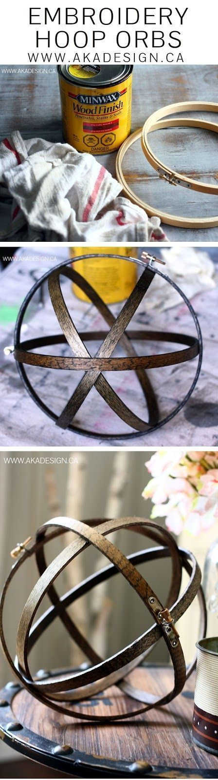 SO smart! DIY Embroidery hoop wood orbs for home decor.