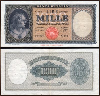 Collezione Personale di Banconote Italiane: 0.0.9. - 1000 LIRE ORNATA MEDUSA
