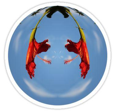Red Flower Orb Sticker by StickerNuts