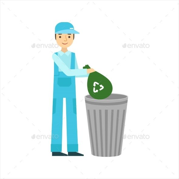 Man Throwing Garbage In Recycle Bin, Cleaning Service Professional Cleaner In Uniform Cleaning In The Household. Person Working In