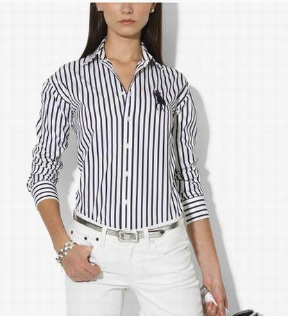 Cheaps Ralph Lauren Women's Cotton Stripe Shirt in Navy/White