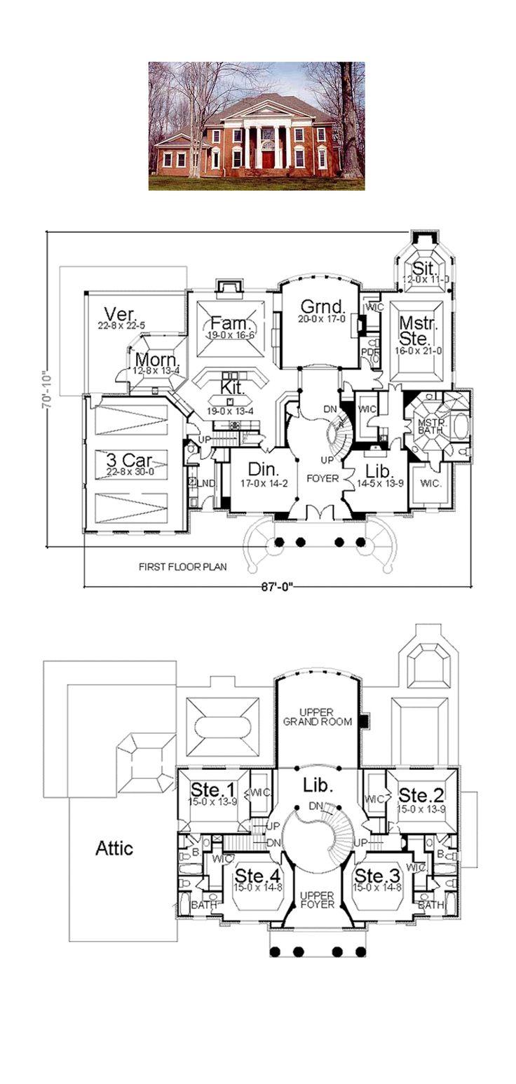 Greek Revival House Plan 72143   Total Living Area: 5083 sq. ft., 5 bedrooms and 5.5 bathrooms. #greekrevivalhome
