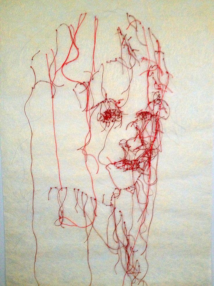 broderie autoportrait rouge, Guacolda