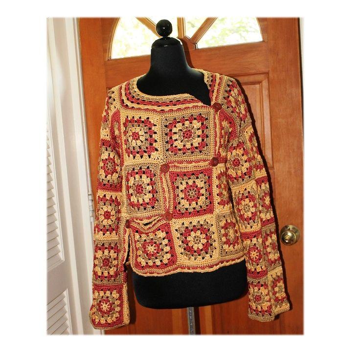 Crochet Granny Square Autumn Fall Sweater by Annie Briggs 'Marlo'