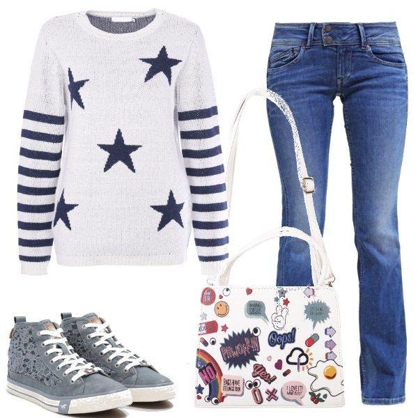 Un look comodo per una giornata all'università. Jeans, modello a zampa, a vita bassa, abbinato ad un pullover con stelle e strisce, sneakers alte in finta pelle e una bellissima borsa a tracolla in design a fumetto.