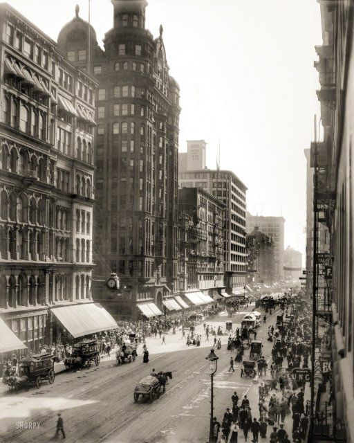 """""""State Street, Chicago, 1905."""" At the corner of Hustle and Bustle. http://www.shorpy.com/node/21465 Detroit Publishing Company"""