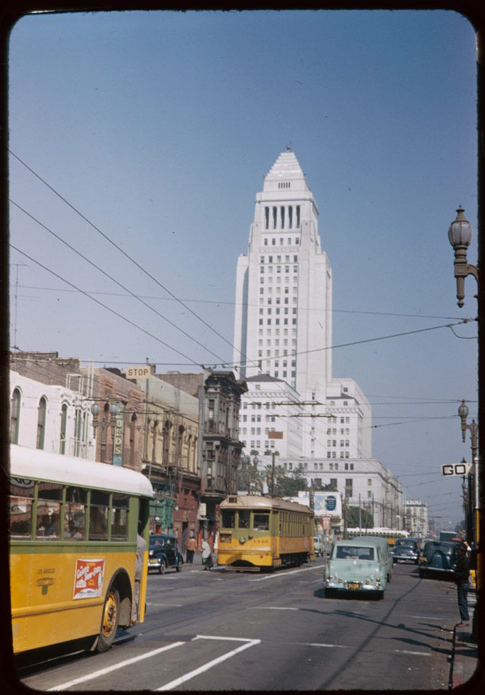 Looking up Main Street from 2nd Street toward Los Angeles City Hall Los Angeles, via the Charles W. Cushman Photograph Collection (1952).