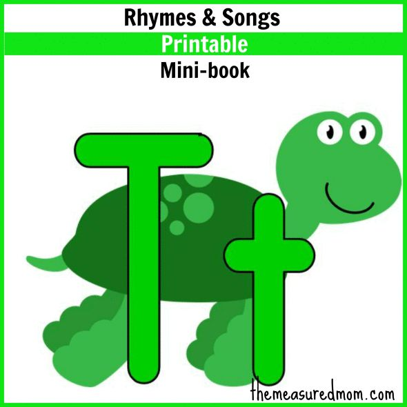 Little Letter T Book: Rhymes & Songs - free printable from the measured mom
