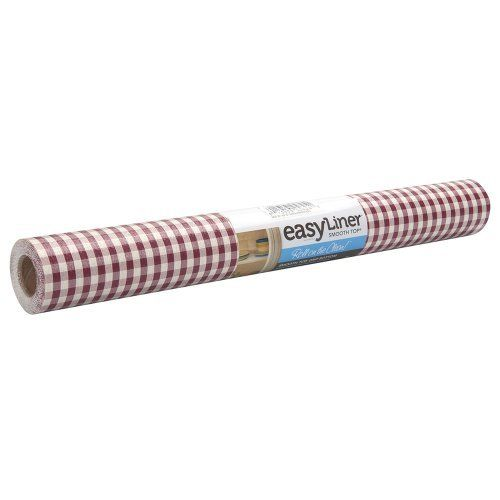 Duck 662254 Smooth Top Easy Non-Adhesive Shelf Liner, 10-Square Feet 20-Inch Wide, Gingham Red by Duck. $10.30. Thicker and heavier than ordinary shelf liners, so better cushioning. 10-Square-Feet of liner, 20-Inch wide x 6 feet long. Gingham red, traditional gingham check in red and white. Smooth top, so dishes, books, etc. slide smoothly in and out. Wipes clean with damp sponge or cloth. From the Manufacturer                Duck brand smooth top easy liner is a non-a...