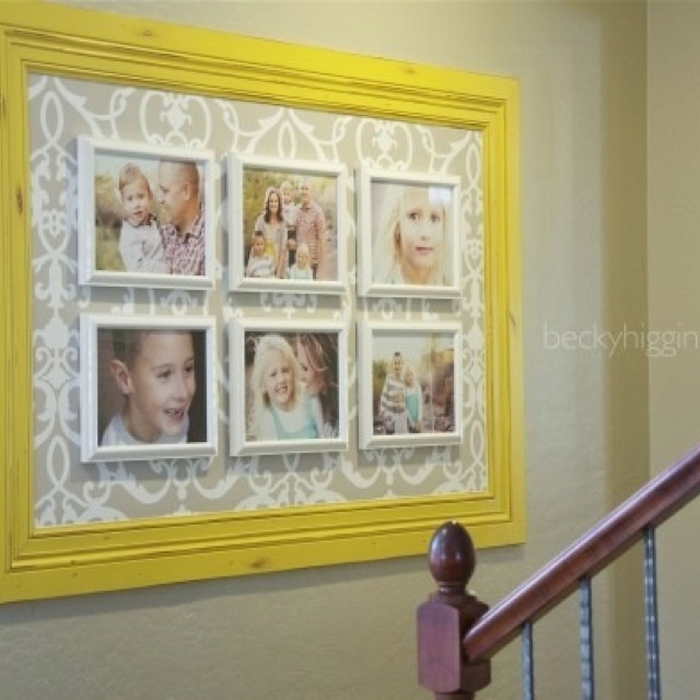 big frame+wallpaper/scrapbook paper+ small frames