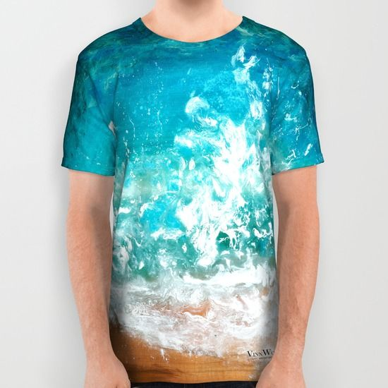 Beach and waves abstract unisex T-shirts for men and women by Vinn Wong | Full collection vinnwong.com | International Shipping | Visit the shop or Pin it For Later!