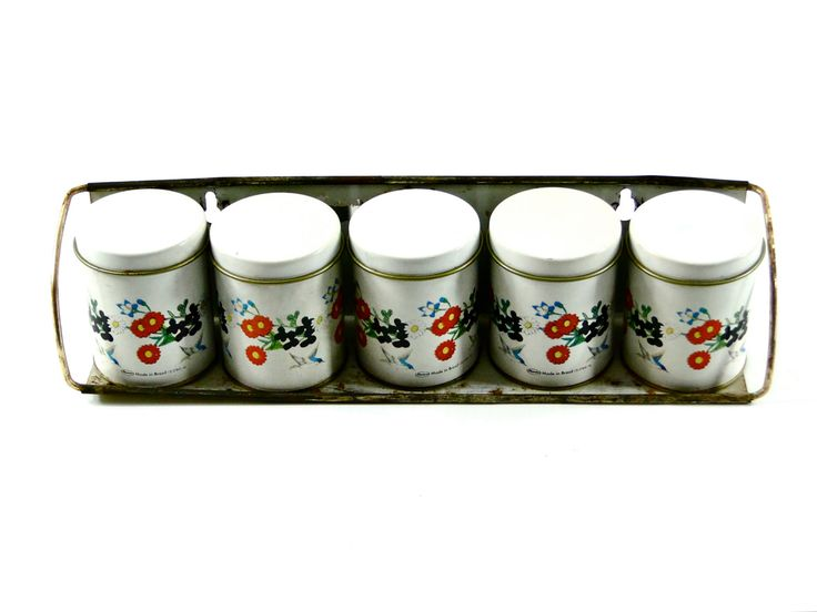 Vintage spice set tin metal spice holders kitchen for Retro kitchen set of 6 spice tins