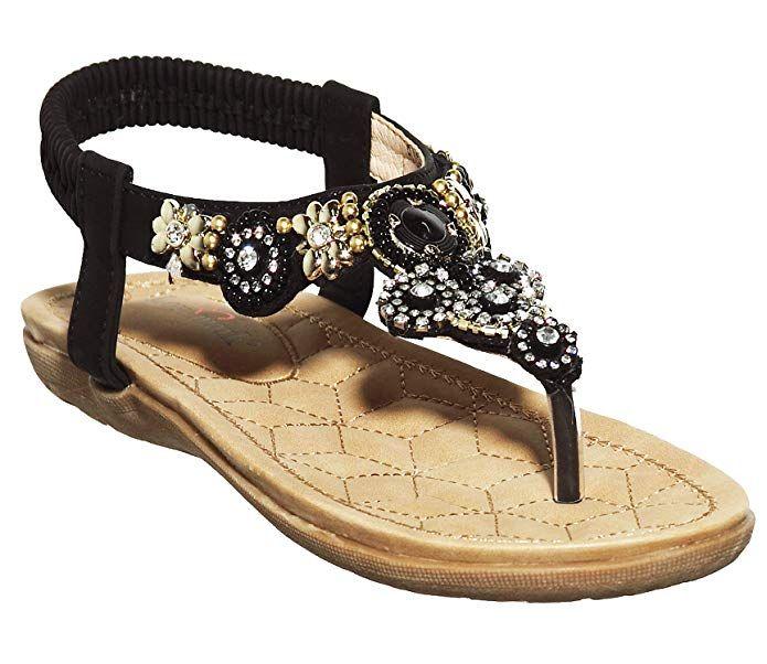 Women sandals elastic t-strap flat sandals women summer beach slippers flip flop