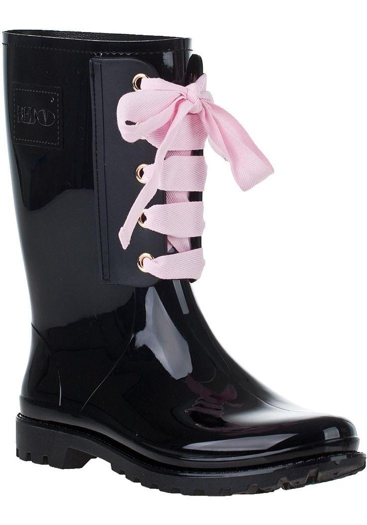 RED Valentino - Lace-Up Rain Boot Black Rubber: Boots Black, Valentino Laceup, Red Valentino, Rain Boots, Black Rubber, Laceup Rain, Valentino Boots, Valentino Lace Up, Lace Up Rain