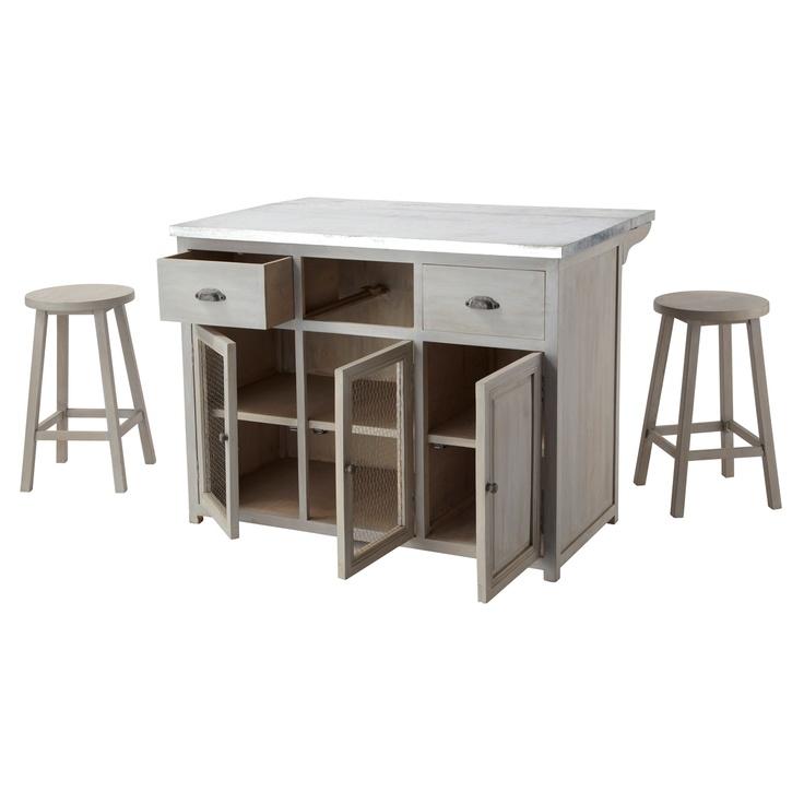 ilot central cm zinc with ilot mobile. Black Bedroom Furniture Sets. Home Design Ideas