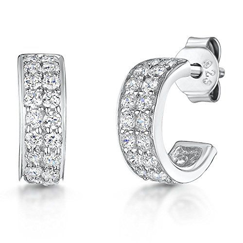 a0145548a JOOLS by Jenny Brown ® - Sterling Silver Three Quarter Hoop Stud Earrings-  Half Hoop Pave Style Set With Cubic Zirconias