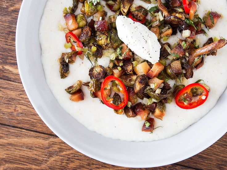 Al's place Grits with Brussels Sprouts, Quince, and Goats' Milk Curd