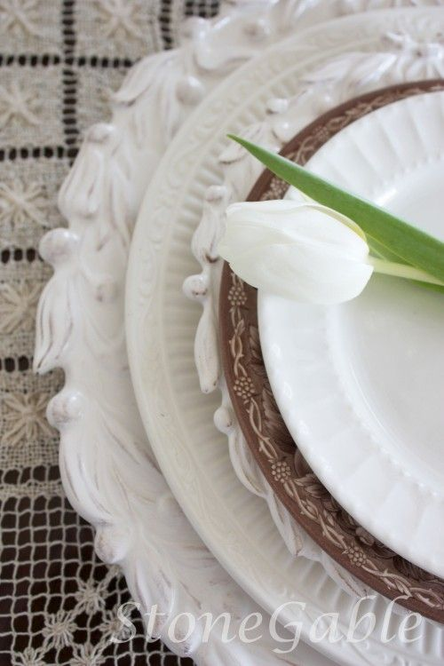 TOP 10 FAVORITE TABLESCAPING ITEMS | WHITE DISHES | This is the number 1 first thing I would buy! A great set of white dishes goes with everything. No pattern, no other color, maybe an interesting edge. I would get at least 8 place setting. If you get a classic design you can add to it as you go! My very favorite workhorse dishes that I have had for almost 20 years are my Mikasa Italian Countryside (2nd from the bottom).