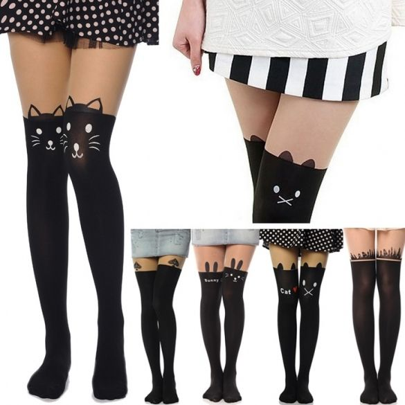 Cat Tower Tattoo Socks Sheer Pantyhose Mock Stockings Tights