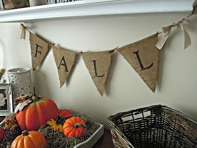 {DIY Burlap Pennant Banner} - Creatively Southern... I love the Idea of using a burlap banner for a Booth Banner :)