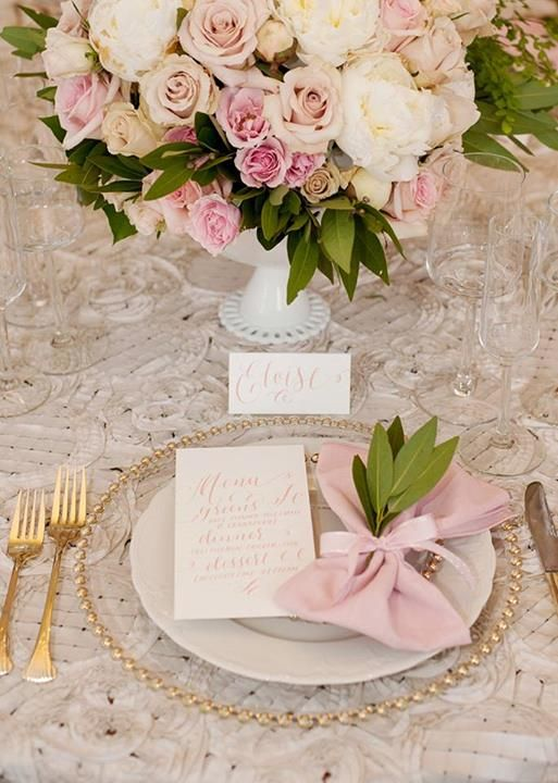 rose gold theme charger plates and cutlery