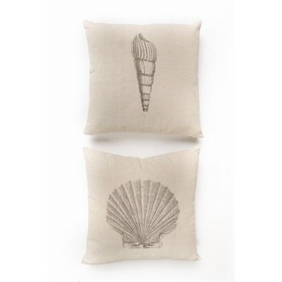 shell canvas cushion natural 17x17 2 asstd