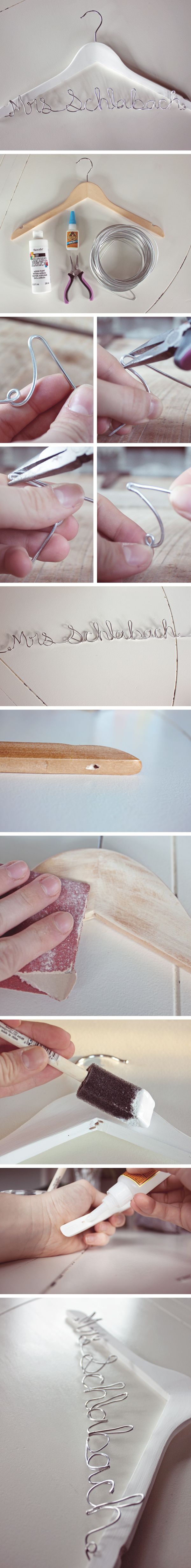 Will use this tut to make a jewelry hanger.  How to make a custom hanger with bride's last name. DIY tutorial from O Hi, O Love