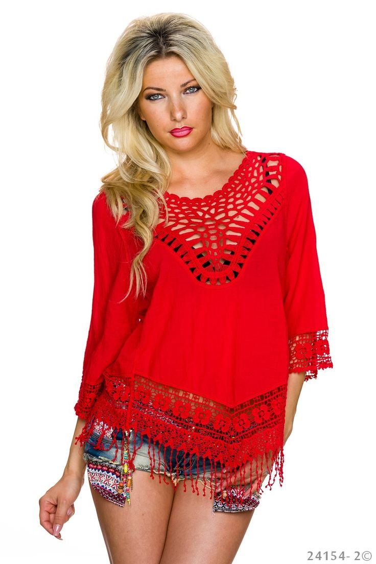 Priceless Moments Red Blouse, 3/4 sleeves, nonelastic fabric, women`s blouse