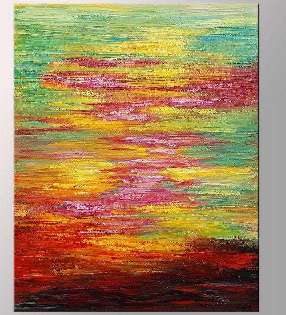 Gran pintura al óleo paisaje lona de arte pared por Topart007                                                                                                                                                                                 Más