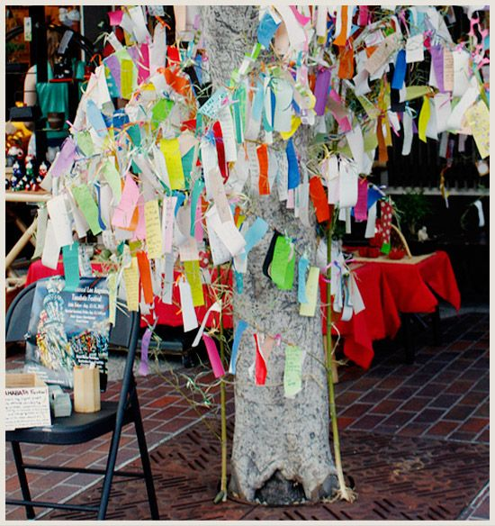 Japanese Wishing Tree...perhaps a tree related to art therapy?   Activity for closing of a retreat?  Feelings tree over the course of several months?