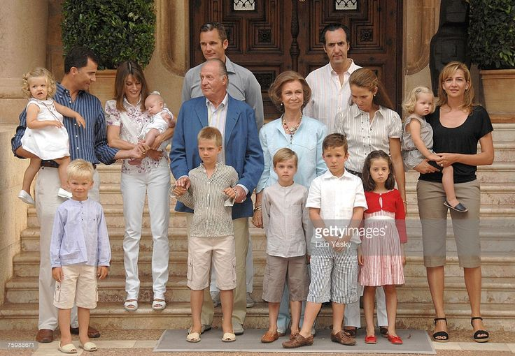 Prince Felipe,Princess Letizia, their daughters Leonor and Sofia, King Juan Carlos, I?aki Urdangarin, Queen Sofia;Jaime de Marichalar, Elena of Spain and sons Victoria Federica and Froilan, Cristina of Spain and sons Juan Valentin, Pablo, Miguel and Irene) pose for photographers at Marivent Palace on August 6, 2007 in Mallorca,Spain