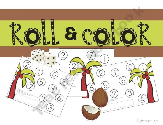 Roll and Color - great for beginning number recognition and counting practice (Free): Chicka Chicka, Boom Boom, Kindergarten Math, Chicka Boom, Colors, School Stuff, Number