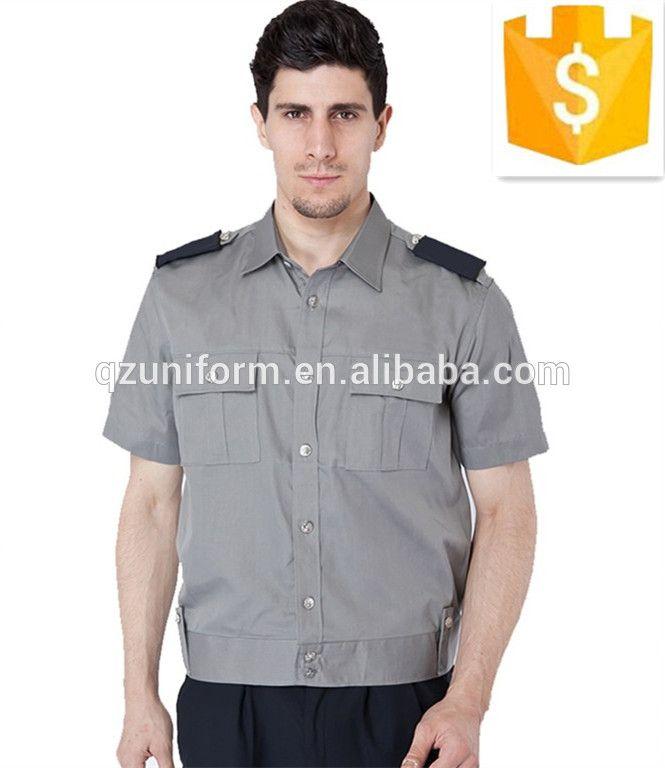 mens workwear security guards uniform shirt short sleeves custom design and logo