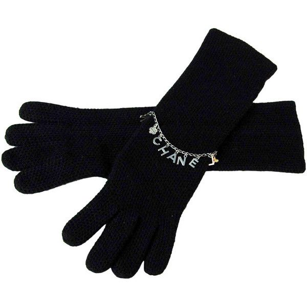 Preowned Chanel Black Cashmere Long Gloves With Charms - Sz. Small ($770) ❤ liked on Polyvore featuring accessories, gloves, black, cashmere gloves, long gloves, opera gloves, elbow length gloves and chanel