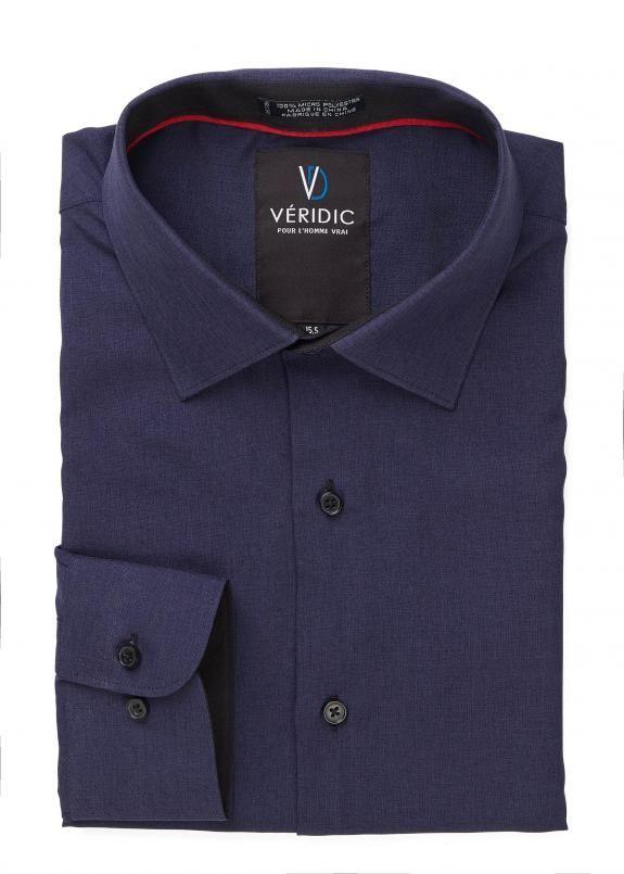 Chemises à l'aspect minimaliste d'un soyeux tissage de microfibre procure à cette chemise confort et facilité d'entretien Coupe semi-ajustée Intérieur des poignets et du col contrastant.