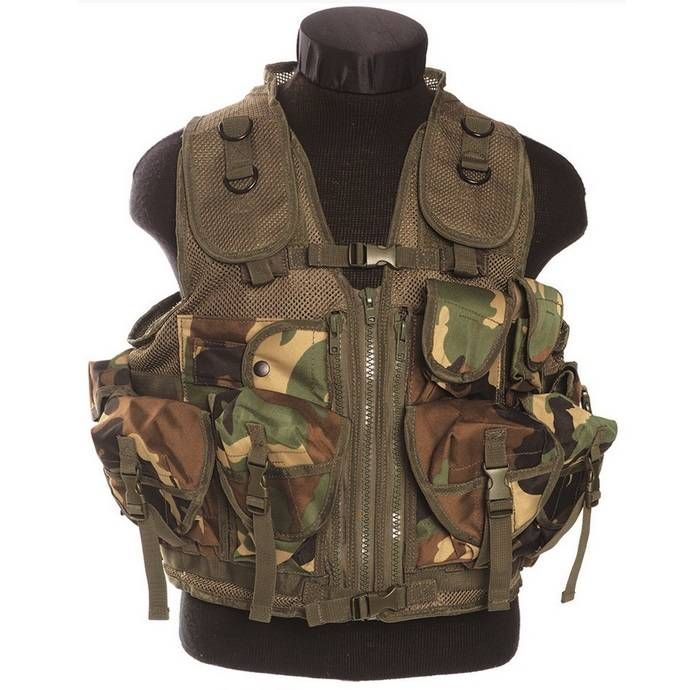 Mil-Tec Einsatzweste Tactical, 9-Taschen, woodland / mehr Infos auf: www.Guntia-Militaria-Shop.de