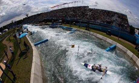 David Florence and Richard Hounslow of Britain compete in the men's C-2 canoe double slalom heats at the Lee Valley White Water.