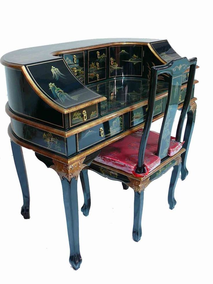 Black lacquered hand painted writing desk chair oriental for Chinese furniture