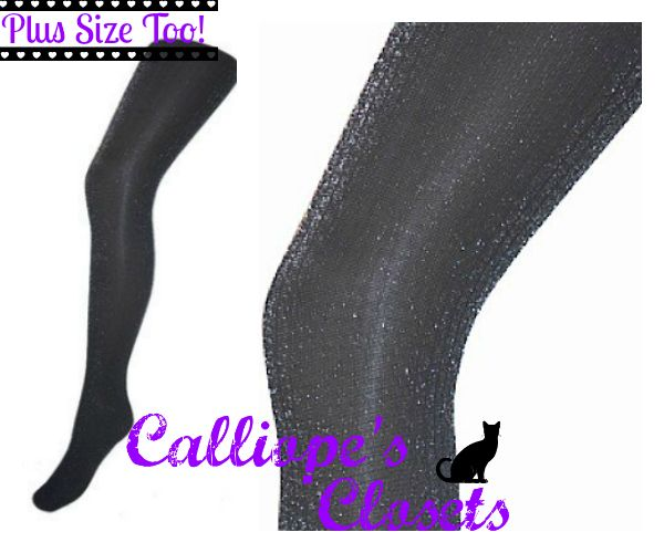 Sparkly Rib Tights- Black & Silver
