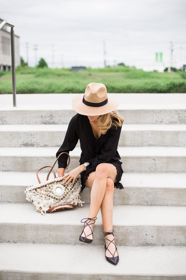 Krystal Schlegel summer panama hat, little black day dress, and lace-up heels.